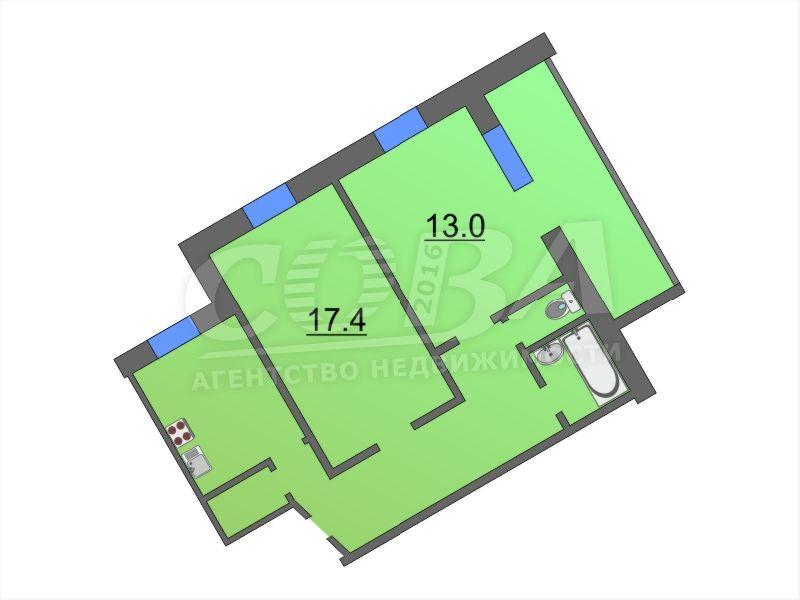 2 комнатная квартира  в районе КПД (Геологоразведчиков), ул. 50 лет ВЛКСМ, 107, г. Тюмень