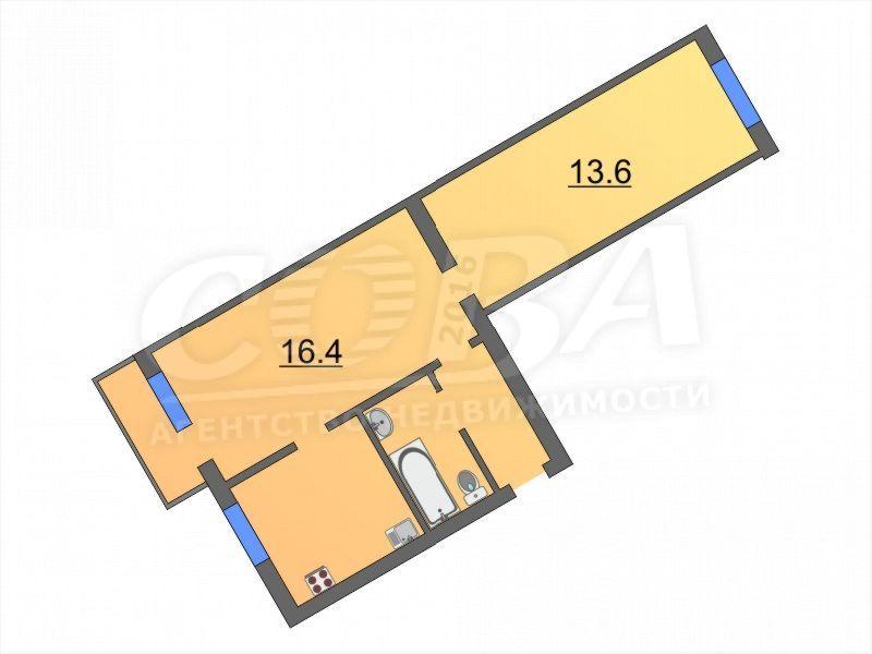 2 комнатная квартира  в районе Метелево, ул. Метелевская, 4, г. Тюмень