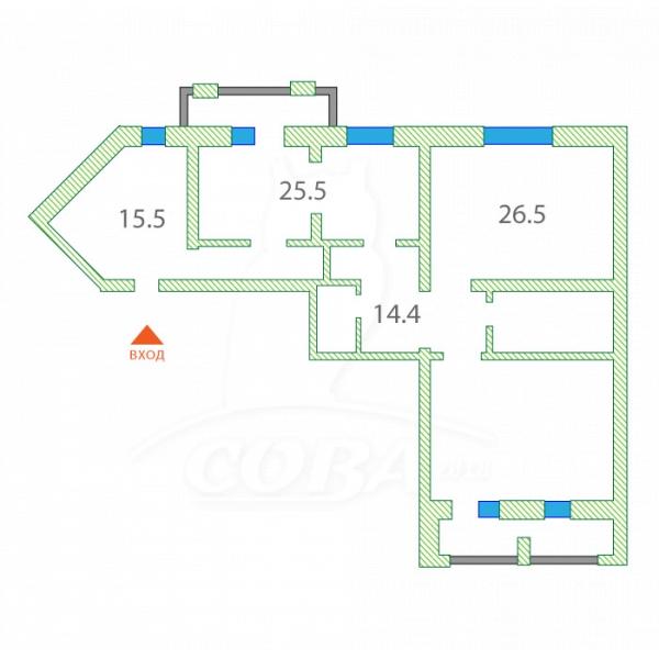 3 комнатная квартира  в районе Ватутина, ул. Ватутина, 55, г. Тюмень