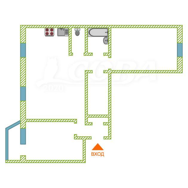 3 комнатная квартира  в Тюменском-2 мкрн., ул. Николая Ростовцева, 2, ЖК «Ямальский-1», г. Тюмень