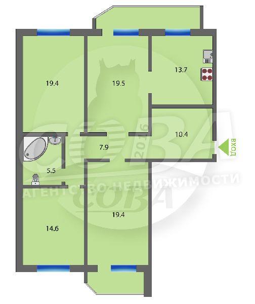 4 комнатная квартира  в районе Московского тр., ул. Московский тракт, 135/2, г. Тюмень