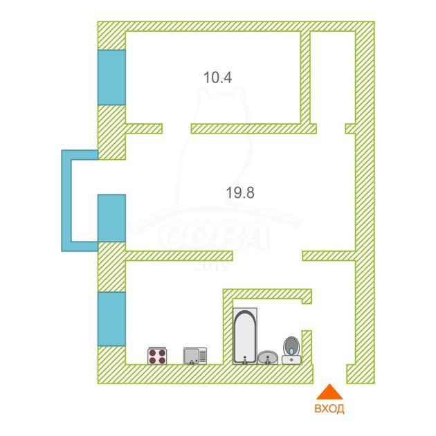 2 комнатная квартира  в районе Лесобаза, ул. Судостроителей, 29, г. Тюмень
