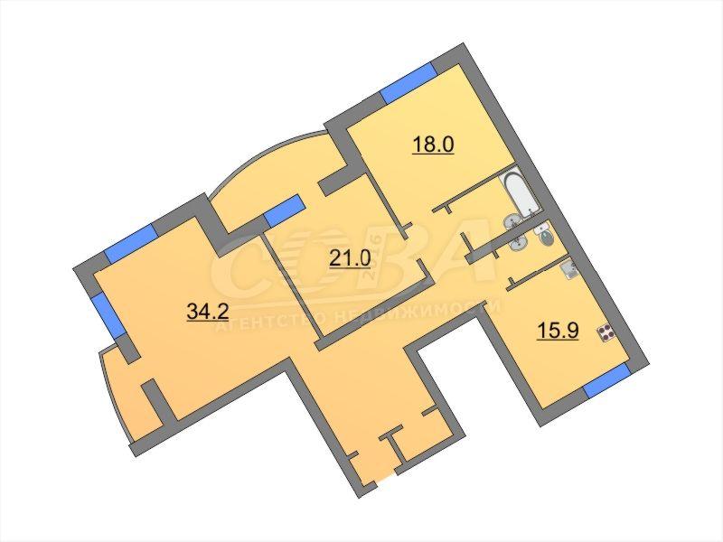 3 комнатная квартира  в районе МЖК, ул. Широтная, г. Тюмень
