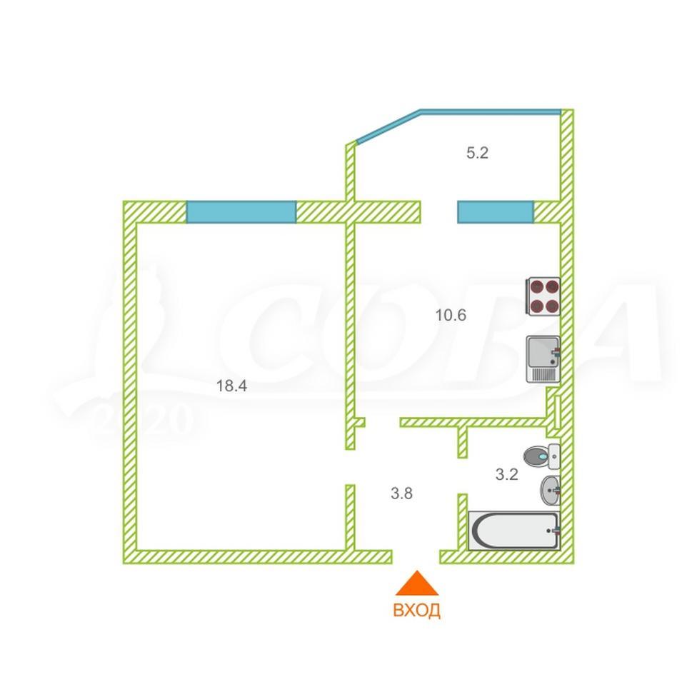 2 комнатная квартира  в районе ТРЦ Аура, ул. Семена Билецкого, 6, г. Сургут
