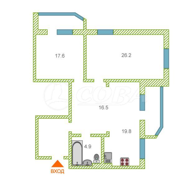 2 комнатная квартира  в 6 микрорайоне, ул. Николая Федорова, 14, г. Тюмень