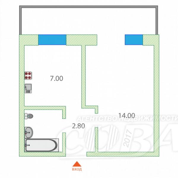 1 комнатная квартира  в районе Лесобаза (Тура), ул. Мебельщиков, 3, г. Тюмень