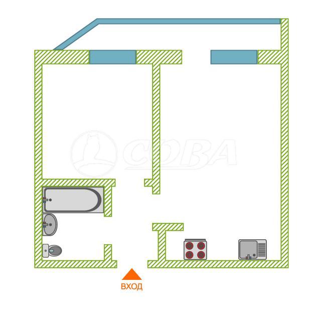 1 комнатная квартира  в 1 микрорайоне, ул. Широтная, 125, г. Тюмень
