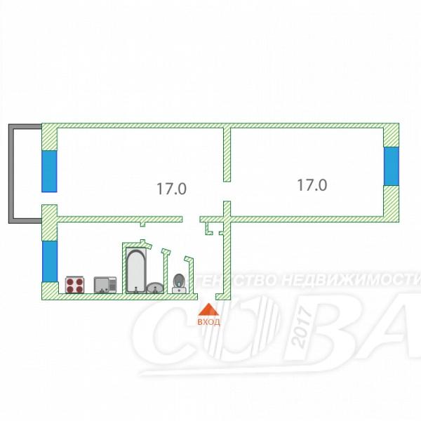 2 комнатная квартира  в районе Тарманы, ул. Игримская, 26, г. Тюмень