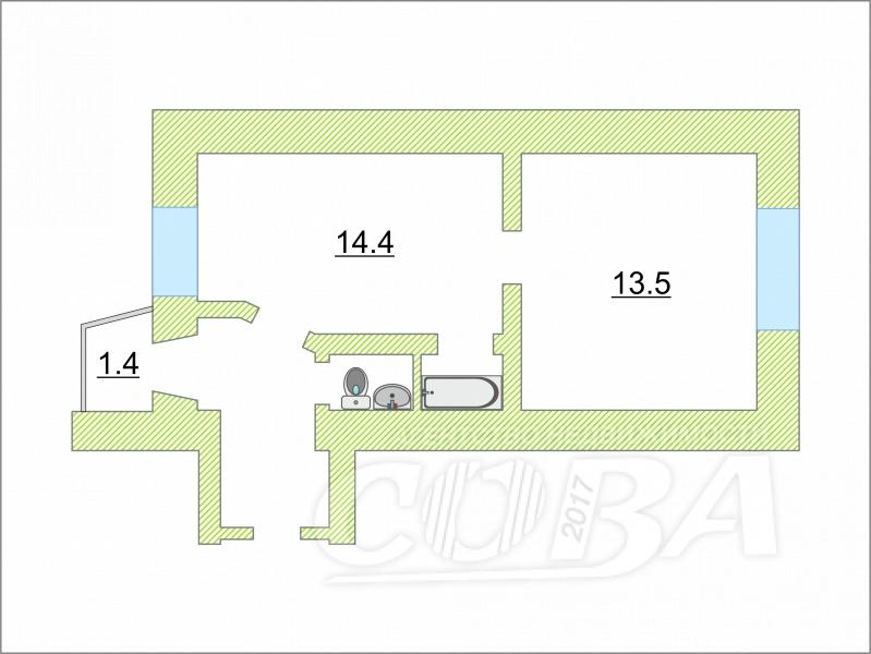 1 комнатная квартира  в историческом центре, ул. Челюскинцев, 57, г. Тюмень