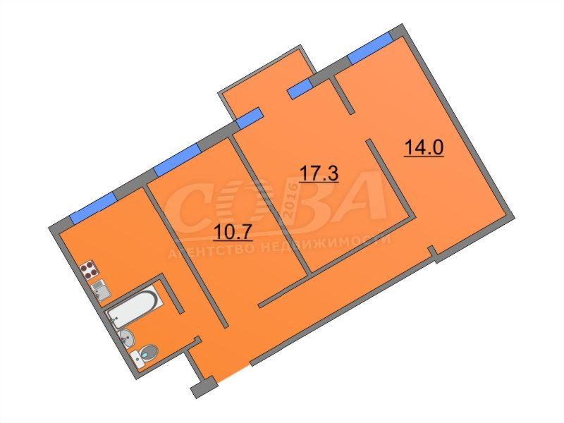 3 комнатная квартира  на КПД в районе 50 лет Октября, ул. 50 лет Октября, 55, г. Тюмень