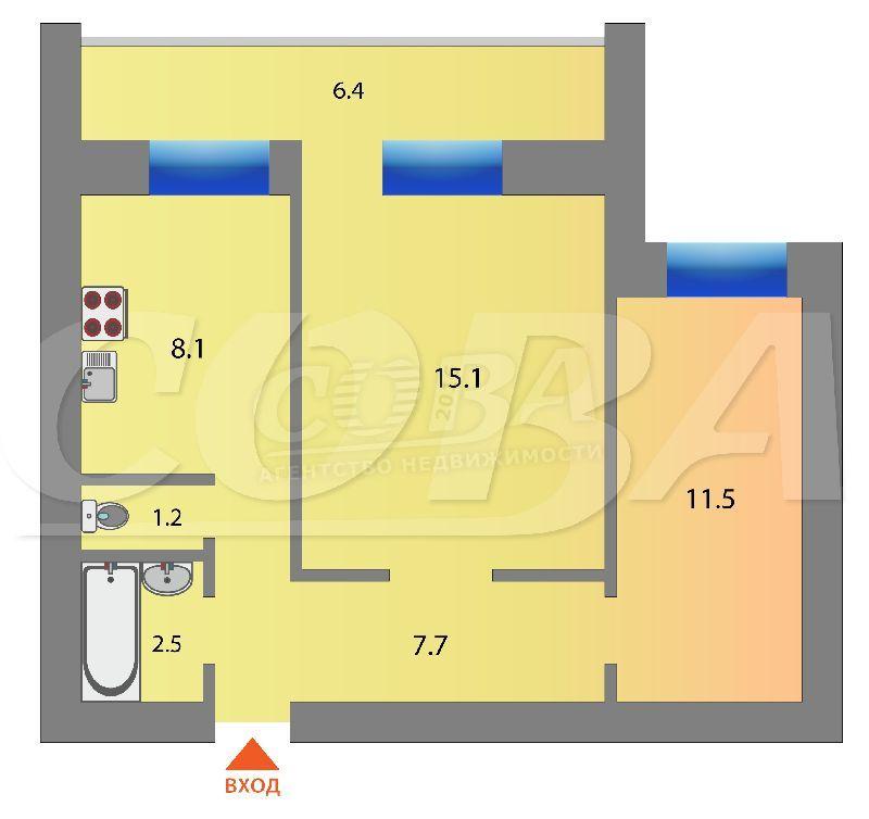 2 комнатная квартира  в районе ул.Малыгина, ул. Салтыкова-Щедрина, 59, г. Тюмень