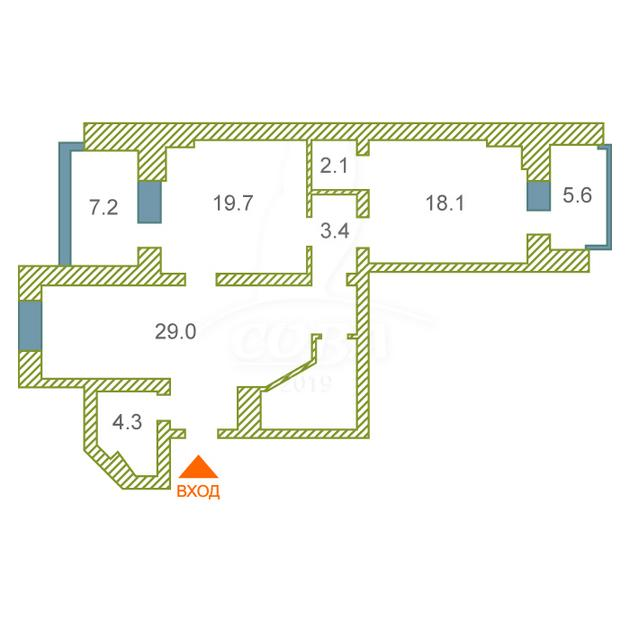 2 комнатная квартира  в Тюменском мкрн., ул. Прокопия Артамонова, 13, г. Тюмень