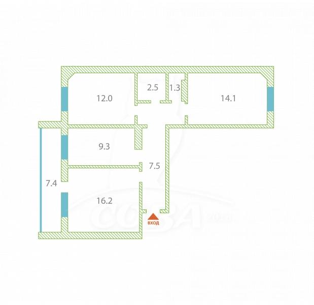 3 комнатная квартира  в районе Мыс, ул. Малиновского, 6А, г. Тюмень