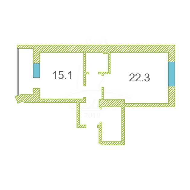 1 комнатная квартира  в районе 25-й микрорайон, ул. Мелик-Карамова, 4, ЖК «Возрождение», г. Сургут