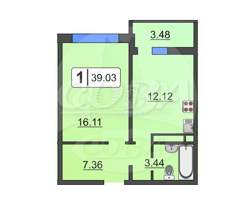 1 комнатная квартира  в районе Тюменская слобода, ул. Александра Протозанова, 16, ЖК «Преображенский», г. Тюмень