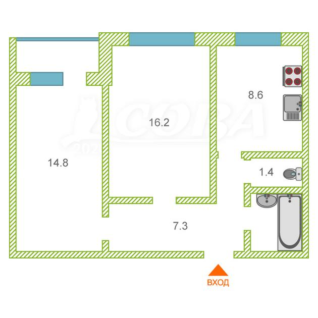 2 комнатная квартира  в районе Лесобаза (Тура), ул. Вересковая, 5, г. Тюмень