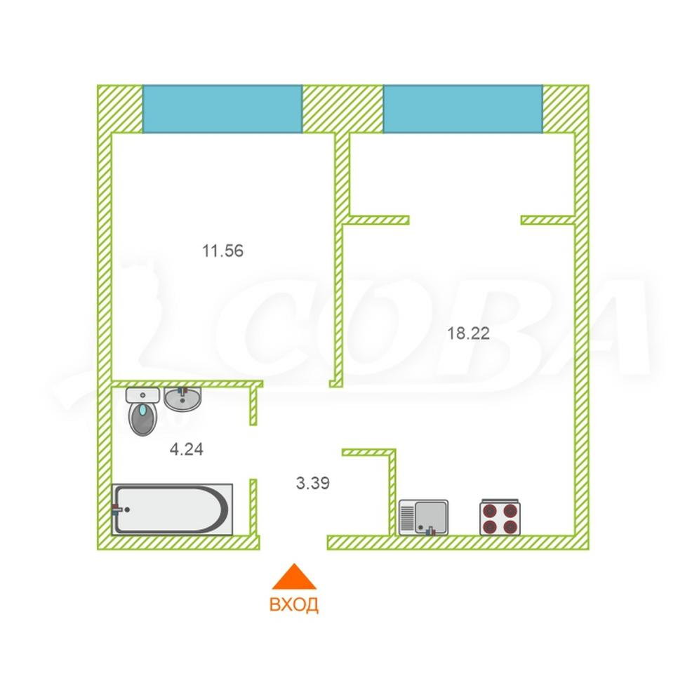 1 комнатная квартира  в районе Мыс, ул. Тимофея Чаркова, 83, ЖК «Звездный», г. Тюмень