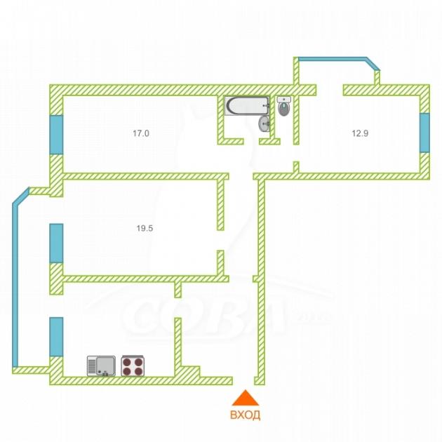 3 комнатная квартира  в районе ТЦ Магеллан, ул. 50 лет Октября, 30, г. Тюмень