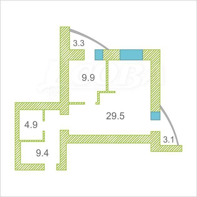 1 комнатная квартира  в районе Дом Обороны, ул. Ямская, 90, ЖК «Ямская-Болотникова», г. Тюмень