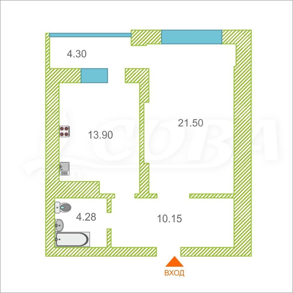 1 комнатная квартира  в районе Технопарка, ул. Малыгина, 90, Жилой комплекс «Паруса», г. Тюмень
