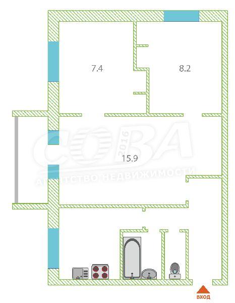 3 комнатная квартира  в районе студгородка, ул. Харьковская, 71, г. Тюмень
