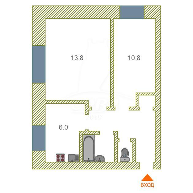 2 комнатная квартира  в районе Центральная часть, ул. Совхозная, 12, с. Ембаево