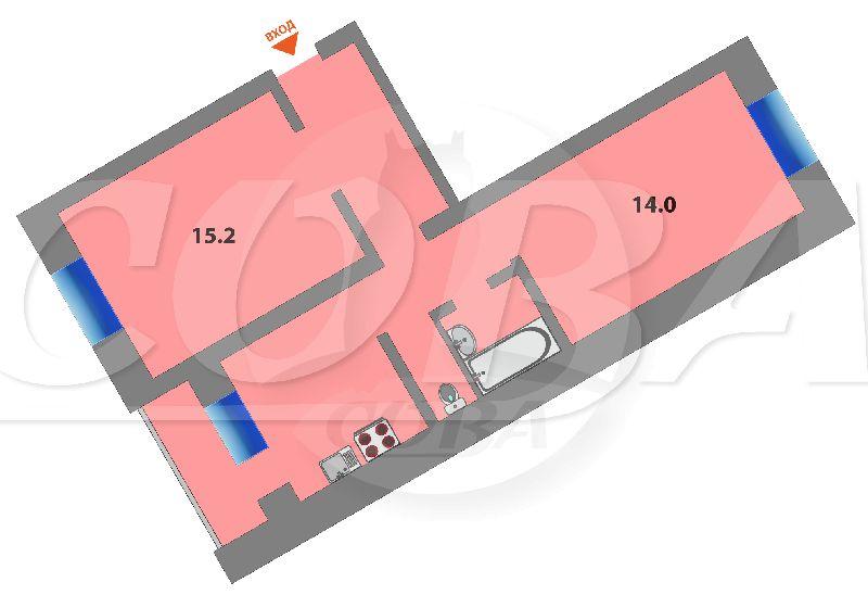 2 комнатная квартира  в центре Тюмени, ул. Ялуторовская, 23, г. Тюмень