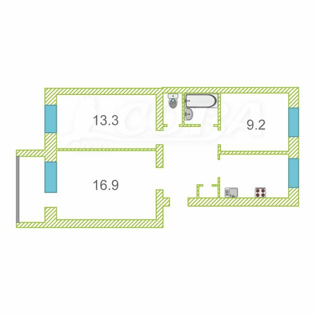 3 комнатная квартира  в районе центральная часть, ул. Мира, 16, п. Боровский
