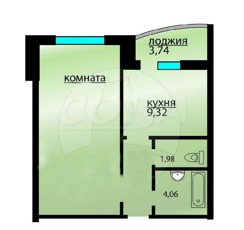 1 комнатная квартира  в районе Ожогина / Патрушева, ул. Федюнинского, 58, г. Тюмень
