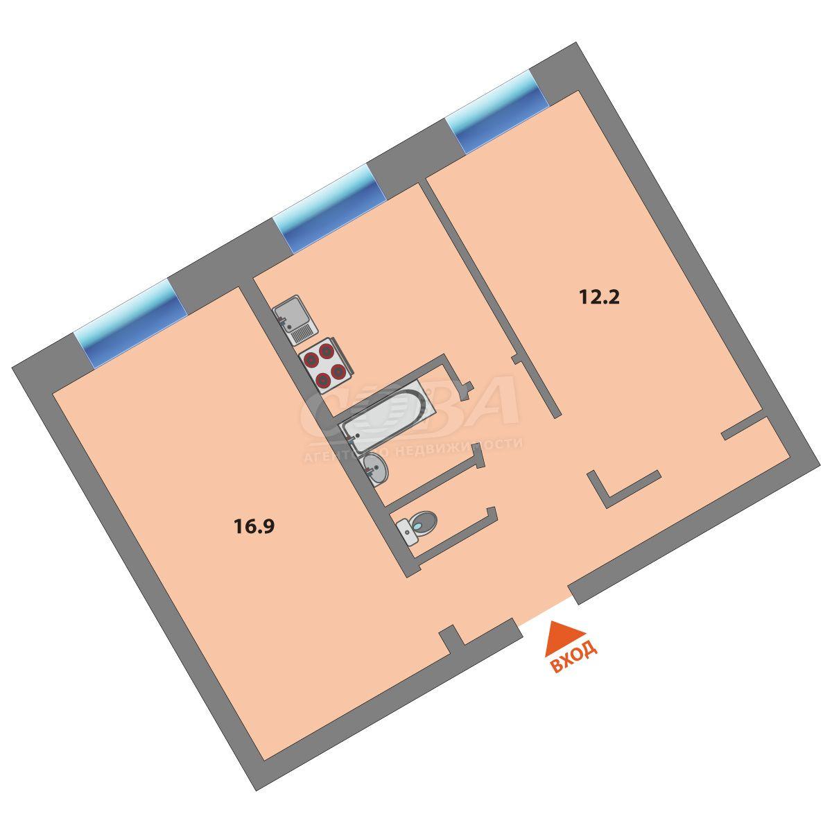 2 комнатная квартира  в районе ул.Малыгина, ул. Красных зорь, 31, г. Тюмень