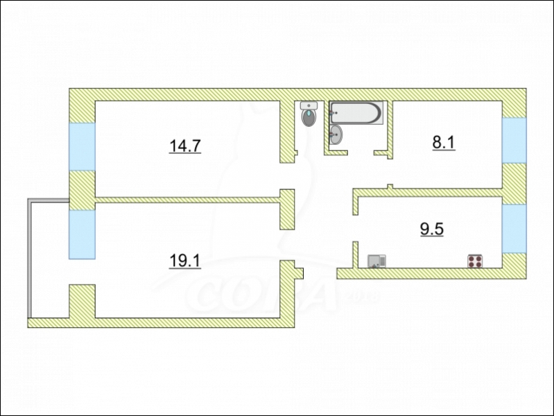 3 комнатная квартира  в районе Московского тр., ул. Московский тракт, 37, г. Тюмень