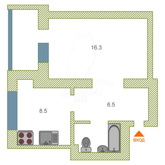 1 комнатная квартира  в районе Технопарка, ул. Котовского, 52А, г. Тюмень