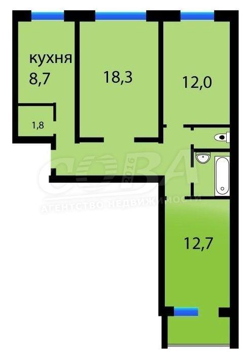 3 комнатная квартира  в Тюменском-3 мкрн., ул. Пермякова, 68/2, г. Тюмень