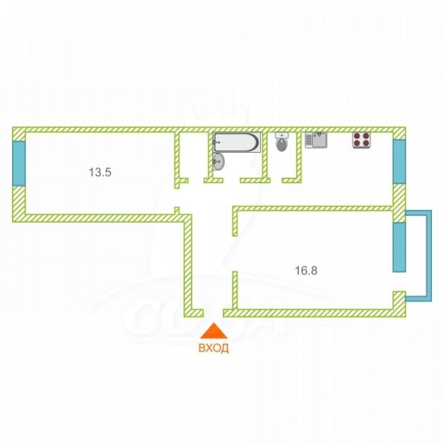 2 комнатная квартира  в районе Тараскуль, ул. Санаторная, 3, г. Тюмень