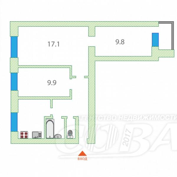 3 комнатная квартира  на КПД у ДК Строитель, ул. Республики, 196, г. Тюмень