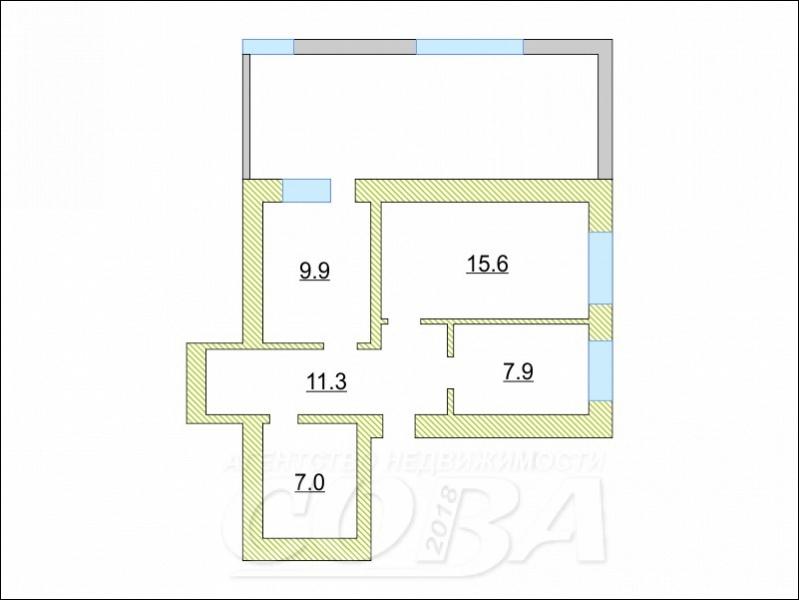 1 комнатная квартира , ул. Республики, 10А/2, п. Ярково