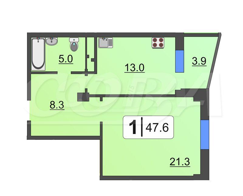 1 комнатная квартира  в Заречном 3 мкрн., ул. Заречный проезд, 39А/1, Жилой комплекс «Ривьера», г. Тюмень