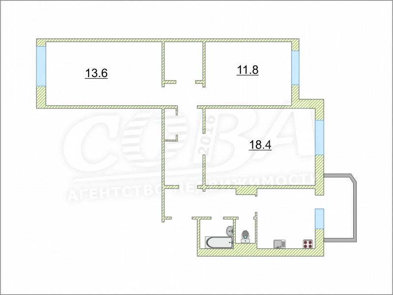 3 комнатная квартира  в районе Мыс, ул. Жуковского, 92, г. Тюмень