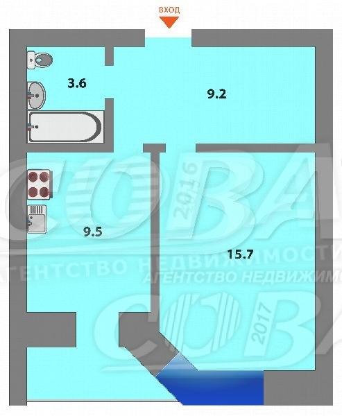 1 комнатная квартира  в Южном микрорайоне, ул. Мельникайте, 144А, Жилой комплекс «Южный квартал», г. Тюмень
