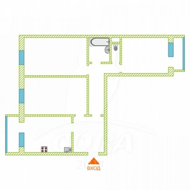 3 комнатная квартира  в Тюменском-4 мкрн., ул. Бориса Опрокиднева, 12, Жилой комплекс «на Менделеева», г. Тюмень