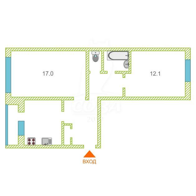 2 комнатная квартира  в районе Войновка, ул. Энергостроителей, 6, г. Тюмень