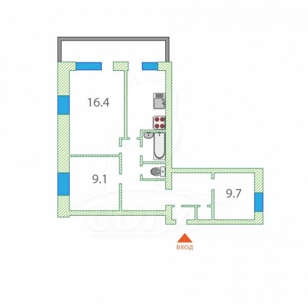 3 комнатная квартира  в районе Матмасы, ул. Пражская, 32, г. Тюмень