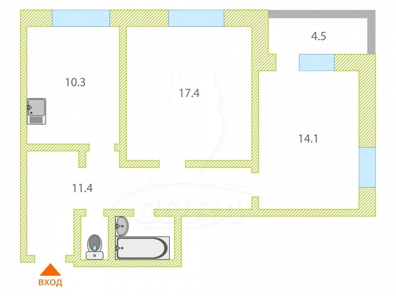 2 комнатная квартира  в Тюменском-2 мкрн., ул. Суходольская, 18, г. Тюмень