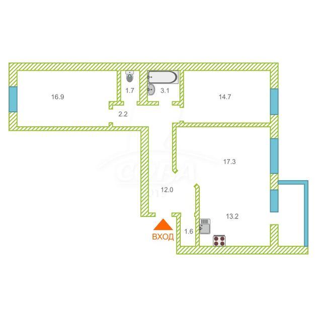 3 комнатная квартира  в районе Мыс, ул. Маршала Захарова, 15, г. Тюмень