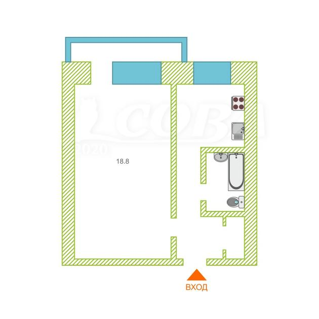 1 комнатная квартира  в центре Тюмени, ул. Ялуторовская, 16, г. Тюмень