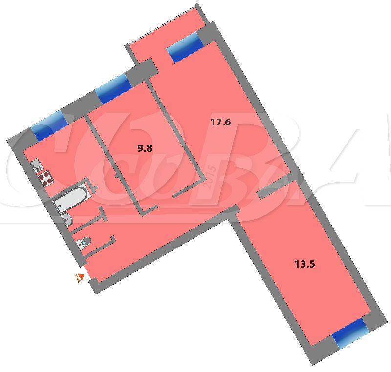 3 комнатная квартира  в районе Выставочного зала, ул. Республики, 171, г. Тюмень