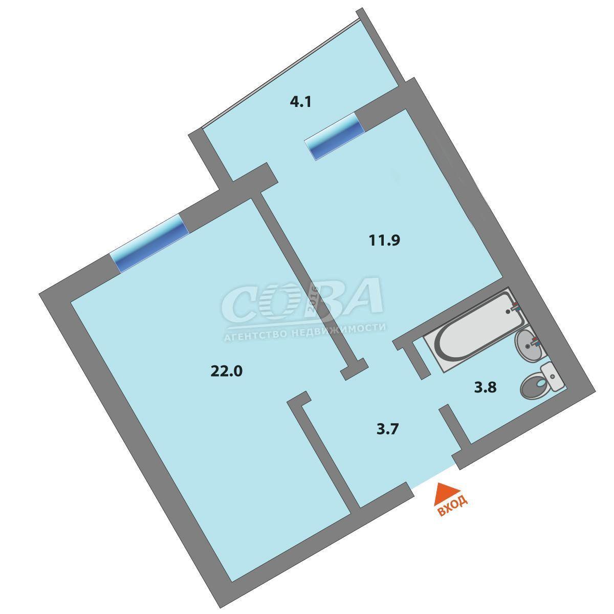 1 комнатная квартира  в районе Московского тр., ул. Амурская, 4, г. Тюмень