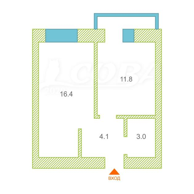 1 комнатная квартира  в районе Дом Обороны, ул. Клары Цеткин, 61/5, Жилой дом на К. Цеткин, г. Тюмень