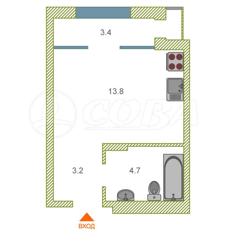Студия в новом доме,  в районе Дом Обороны (Док), ЖК «Чемпионский», г. Тюмень