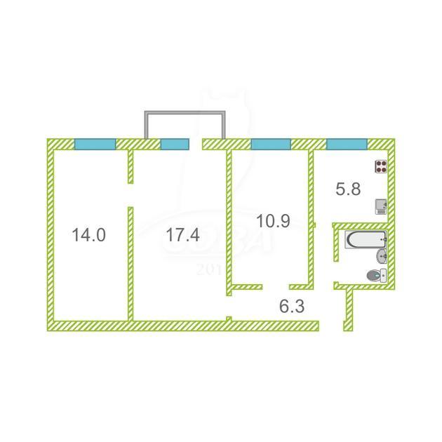 3 комнатная квартира  на КПД у ДК Строитель, ул. Пермякова, 6А, г. Тюмень